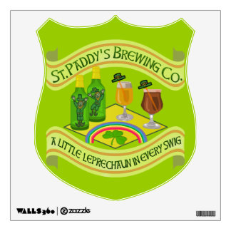 Funny Saint Patrick's Day Leprechaun Brewery Wall Decal