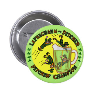 Funny Saint Patrick's Day Leprechaun Pitcher Pinback Buttons