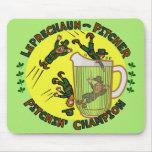 Funny Saint Patrick's Day Leprechaun Pitcher Mouse Pad