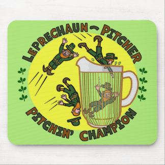Funny Saint Patrick's Day Leprechaun Pitcher Mouse Pad