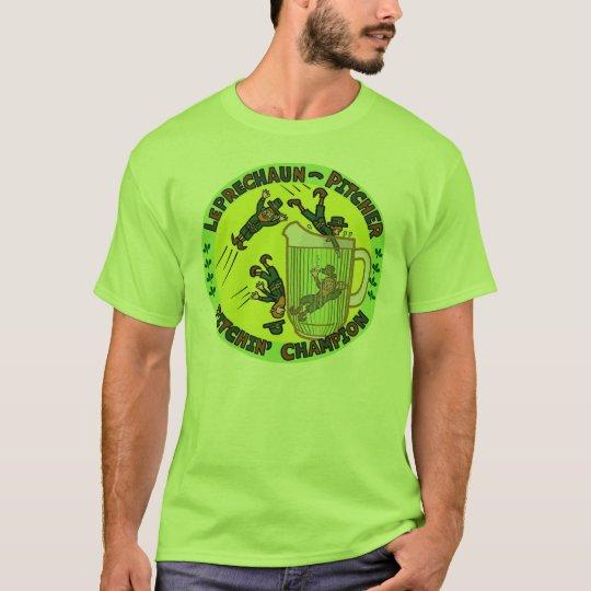 Funny Saint Patrick's Day Leprechaun Pitcher T-Shirt