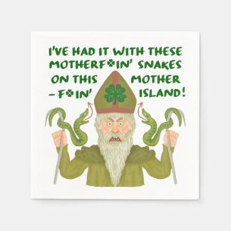 Funny Saint Patrick's Day Snakes Joke Green Irish Napkin