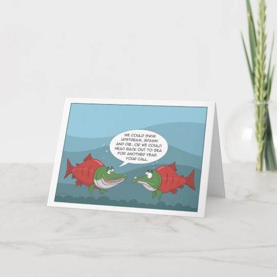 funny salmon birthday anniversary new year card