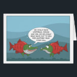 """Funny Salmon: Birthday, Anniversary, New Year card<br><div class=""""desc"""">Two salmon debate whether to follow their instincts or enjoy another year at sea.</div>"""