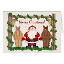 Funny Santa and Horse Christmas Greeting Card
