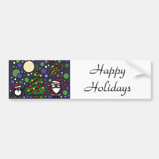Funny Santa and Penguin Christmas Art Bumper Stickers