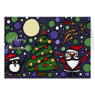 Funny Santa and Penguin Christmas Art Greeting Card