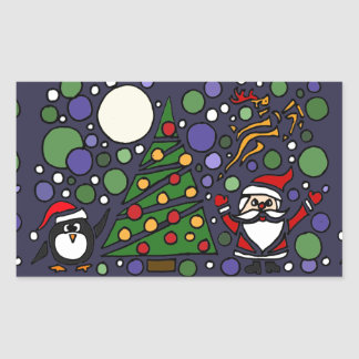 Funny Santa and Penguin Christmas Art Stickers