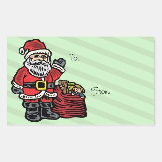 Funny Santa and Presents Rectangular Sticker