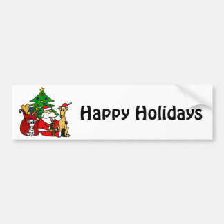 Funny Santa and Puppy Dogs Christmas Art Bumper Sticker