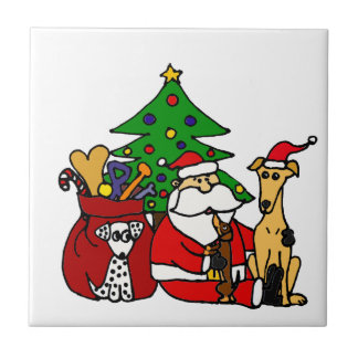Funny Santa and Puppy Dogs Christmas Art Tile