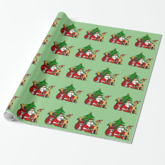 Funny Santa and Puppy Dogs Christmas Art Wrapping Paper