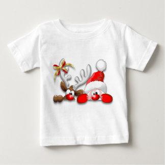 Funny Santa and Reindeer Cartoon Baby T-Shirt