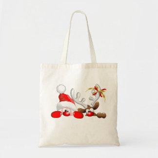 Funny Santa and Reindeer Cartoon Bag