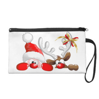 Funny Santa and Reindeer Cartoon Bagettes Bag Wristlet