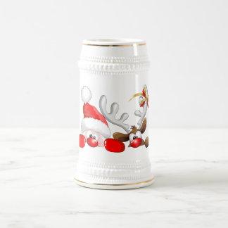 Funny Santa and Reindeer Cartoon Beer Stein 18 Oz Beer Stein