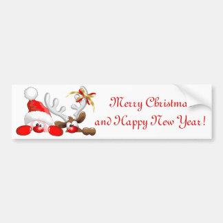 Funny Santa and Reindeer Cartoon Bumper Sticker Car Bumper Sticker