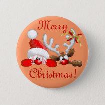 Funny Santa and Reindeer Cartoon Button