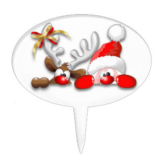 Funny Santa and Reindeer Cartoon Cake Toppers
