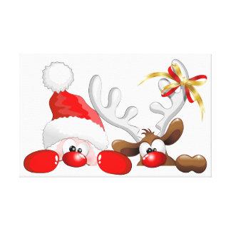 Funny Santa and Reindeer Cartoon Canvas Print