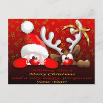 Funny Santa and Reindeer Cartoon Christmas Postcar Holiday Postcard