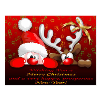 Funny Santa and Reindeer Cartoon Christmas Postcar Postcard