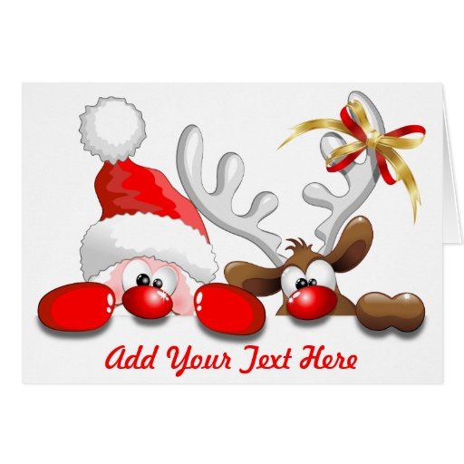 Funny santa and reindeer cartoon greeting card zazzle for Funny reindeer christmas cards