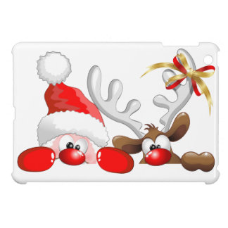 Funny Santa and Reindeer Cartoon iPad Mini Case