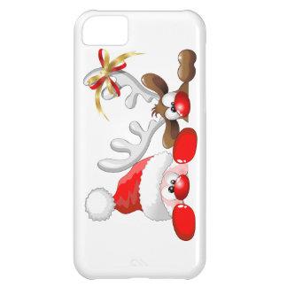 Funny Santa and Reindeer Cartoon iPhone 5 Cases