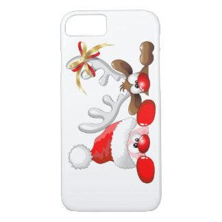 Funny Santa and Reindeer Cartoon iPhone 7 case
