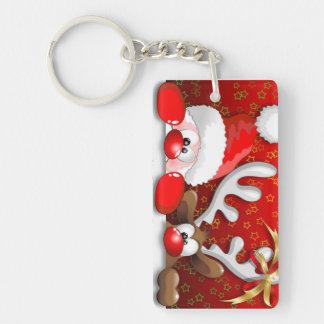 Funny Santa and Reindeer Cartoon Key Chain