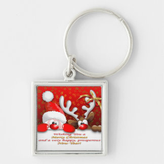 Funny Santa and Reindeer Cartoon Keychain