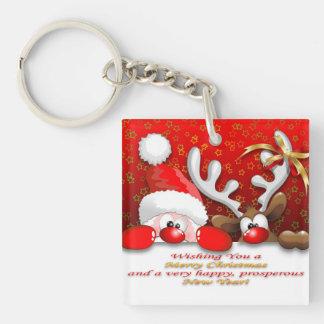Funny Santa and Reindeer Cartoon keychains
