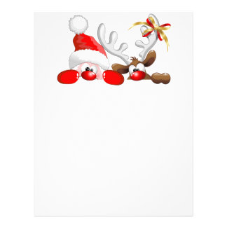 Funny Santa and Reindeer Cartoon Letterhead