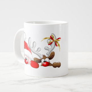 Funny Santa and Reindeer Cartoon Mug Extra Large Mugs