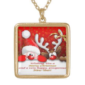 Funny Santa and Reindeer Cartoon Necklace