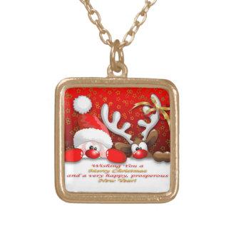 Funny Santa and Reindeer Cartoon Necklaces