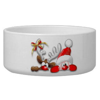 Funny Santa and Reindeer Cartoon Pet Bowl