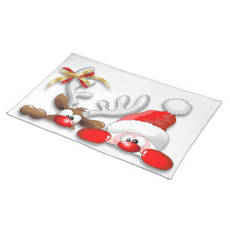Funny Santa and Reindeer Cartoon Placemat