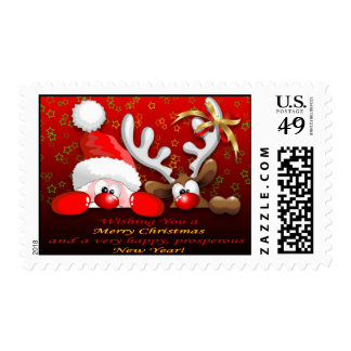 Funny Santa and Reindeer Cartoon Postage