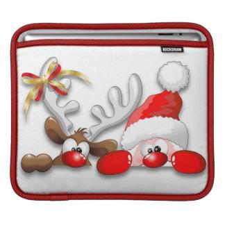 Funny Santa and Reindeer Cartoon Rickshaw Sleeve