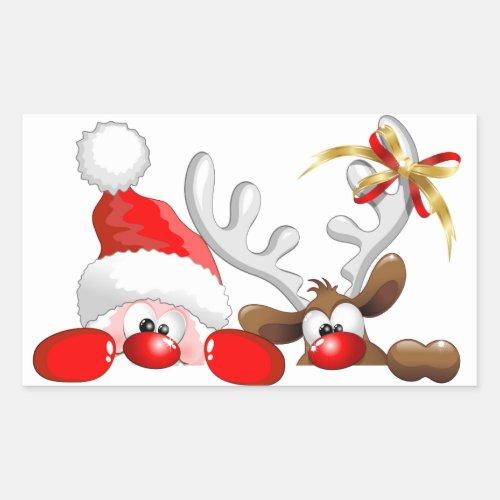 Funny Santa and Reindeer Cartoon Sticker