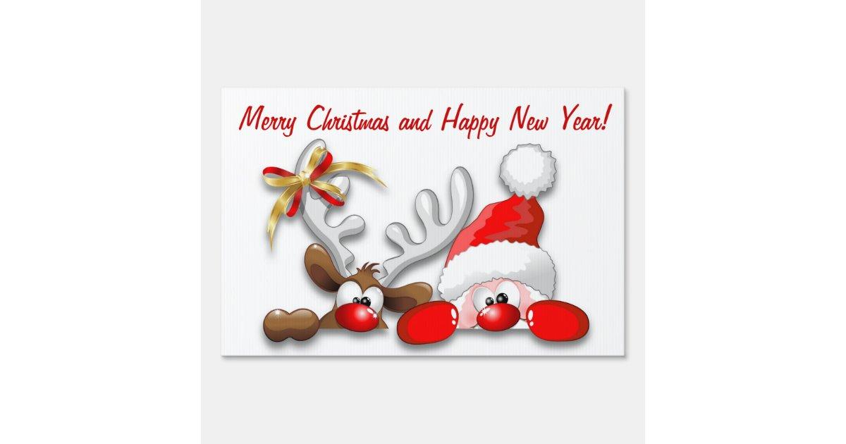 funny santa and reindeer cartoon yard sign