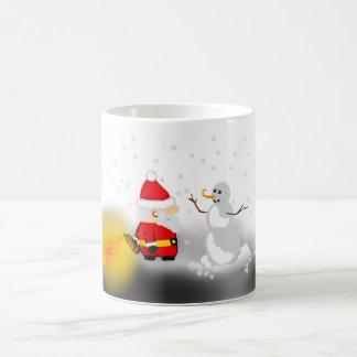 Funny Santa and Snowman mug
