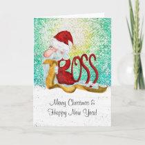 Funny Santa boss Christmas Holiday Card