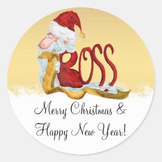 Funny Santa boss Christmas Classic Round Sticker