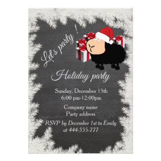 Funny Santa cartoon sheep Chalkboard holiday party Card