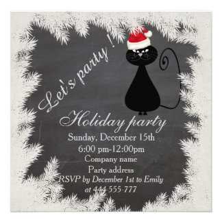 Funny Santa cat Chalkboard corporate holiday party Card