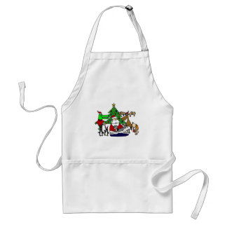 Funny Santa Christmas Art with Moose and Penguins Adult Apron