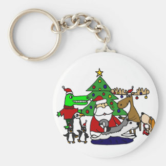 Funny Santa Christmas Art with Moose and Penguins Keychain